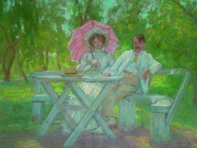 Rippl-Rónai feleségemmel a somogytúri kertemben 1905