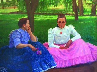 Somogytúri lányok vasárnapi beszélgetésben 1909