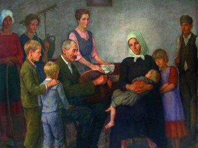 Mezőgazdasági munkás család-kenyérszegés 1926