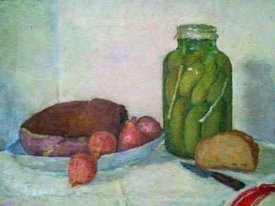 Csendélet uborkás üveggel 1957